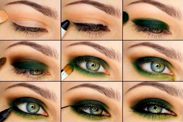 Макияж для зеленый глаз