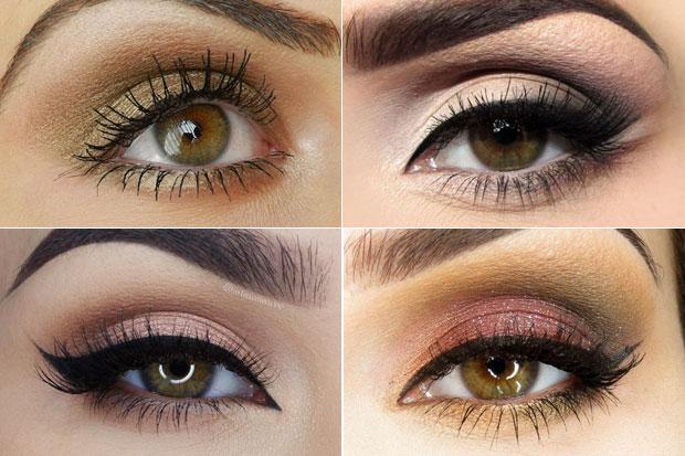 варианты макияжа каре-зеленых глаз
