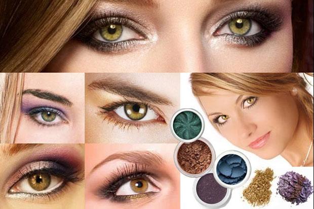 вечерний макияж зелено-карих глаз