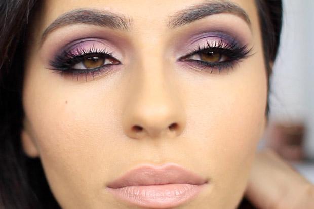 розово-фиолетовый мейкап для карих глаз