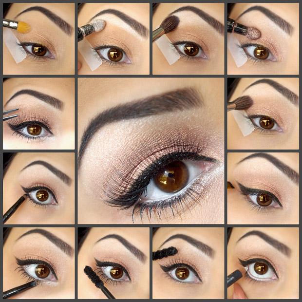 урок поэтапного макияжа для карих глаз