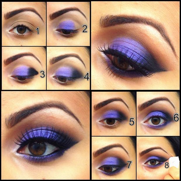 яркий синий макияж для карих глаз